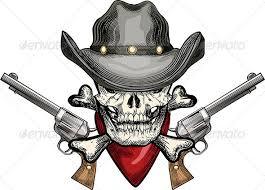 skull in cowboy hat and revolver designs tattooshunt com