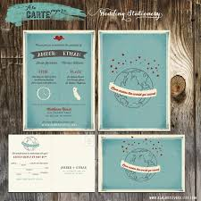 love makes the world go round wedding invitation and rsvp card