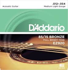 Light Guitar Strings by D U0027addario Ez920 American Bronze 85 15 Medium Light 12 54 Keymusic