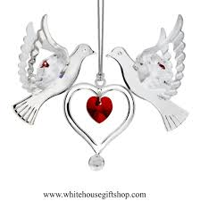 ornament silver love doves holding a heart ornament rose red