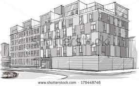 architecture sketch drawing buildingcity stock vector 179448734