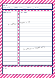 free printable recipe pages recipe template allaboutthehouse printables