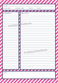 chevron recipe sheet allaboutthehouse printables