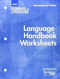 holt elements of literature language handbook worksheets