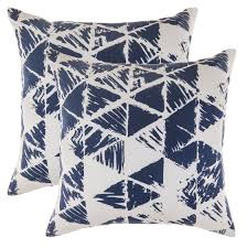 Navy Blue Cushions Uk Treewool 2 Pack Ikat Triangle Design Cotton Cushion Covers