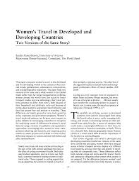 women s travel in developed and developing countries two versions
