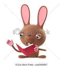 easter bunny book 3d easter bunny rabbit is reading a book 3d render of