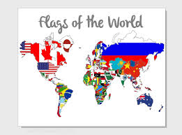 Outline World Map Flags Of The World Map 8x10 Print Choose Your Background Outline