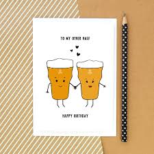 cartoon beer pint beer card birthday card funny card beer card for him