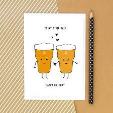 cartoon beer pint beer card birthday card funny card beer card for him