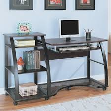 Glass And Wood Computer Desk Office And Workspace Modern Home Office Decoration Using Black