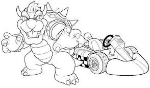 coloring pages bowser mario kart racing 611979 coloring pages