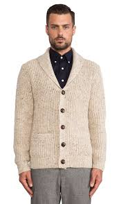 gant rib shawl cardigan in cream revolve