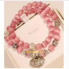 lucky beads bracelet images Pink opal beads vintage metal lucky charm bracelet ebay jpg