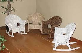White Childs Rocking Chair Kids Wicker Furniture Wicker Baby Bassinet Child Rocker