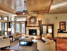 Stone Living Room Tray Ceiling And Stone Fireplace For Modern Living Room 50436