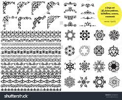 asian large set patterns ornaments set stock vector 624356825
