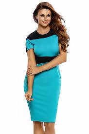 blue black color block pencil style midi dress cheap sale