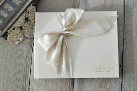 ivory wedding guest book silk dupioni bow custom book by blue sky papers