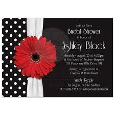 Black And White Invitation Card Red Daisy Polka Dot Bridal Shower Invitation Red Black White