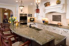 contemporary kitchen with u shape white wooden breakfast bar feat