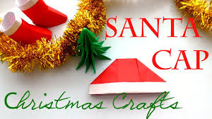 christmas crafts how to make a paper hat origami santa cap youtube