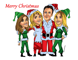 custom christmas gift caricature family portrait by email