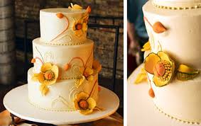 poppy fall themed wedding cake merriment design