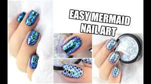 how to easy mermaid nail art iridescent flakies marine loves