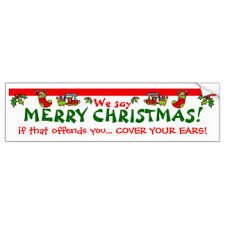 we say merry bumper stickers car stickers zazzle