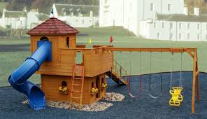 Wood Backyard Playsets by Exterior Wood Ship Shades With Gravel And Ladder Plus Swing Set