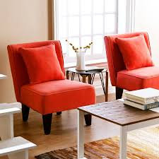 Accent Chair Set Of 2 Shop Holly U0026 Martin Set Of 2 Purban Red Orange Linen Accent Chairs