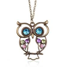 big owl necklace images Fashion necklace bronze cute owl necklace with big eye pendant jpg