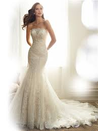 Fitted Wedding Dresses Mermaid Strapless Tulle Lace Applique Beaded Wedding Dress Corset Back