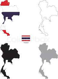 thailand vector map thailand country black silhouette and with flag on background