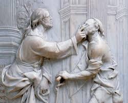 Christ Healing The Blind Sculpture Relief Depicting Christ Healing The Blind Man Biblical