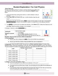 force and fan carts gizmo answer key student exploration sheet growing plants