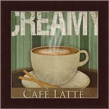 Coffee Wall Decor For Kitchen Creamy Café Latte Kitchen Décor Coffee Sign Framed Art Print Wall