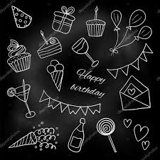 icons happy birthday sketch white chalk on a blackboard doodles