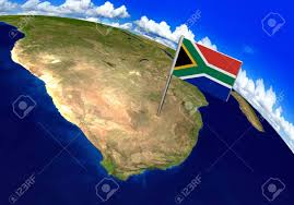 Image Of South African Flag Flag Marker Over Country Of South Africa On World Map 3d Rendering