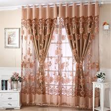 Window Curtain Decor Flower Print Tulle Door Drape Window Curtain Home Panel
