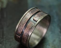 unique mens unique silver wedding band cuttlebone rustic mens ring mens