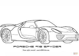 porsche 918 spyder coloring page free printable coloring pages