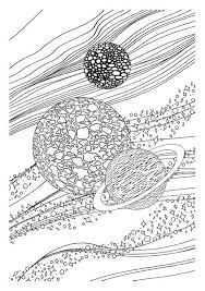 coloring page moon sun stars saturn 7