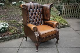 Leather Chesterfield Armchair Thomas Lloyd Brown Leather Chesterfield Wing Back Armchair For