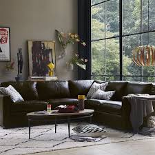 West Elm Henry Leather Sofa Henry 3 L Shaped Sectional Leather West Elm