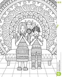 clean lines clean lines doodle design of mom and her son praying together