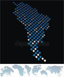 south america dot map south america map gray radial dot pattern stock vector furian