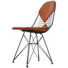 Eames Leather Chair Eames Early Dkr Wire Chair With Leather Seat On Eiffel