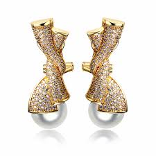 aliexpress buy new arrival white gold color aaa aliexpress buy pearl earrings with aaa cubic zirconia white